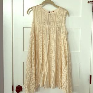 Free People Cream Floral Lace Shift Dress- Small